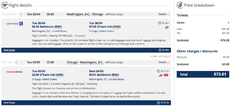 cheap flight from Washington to Chicago