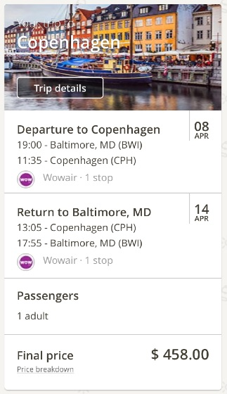 Washington to Copenhagen