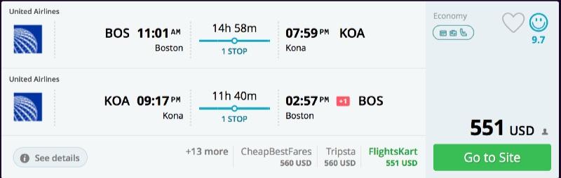 Boston to Kailua-Kona