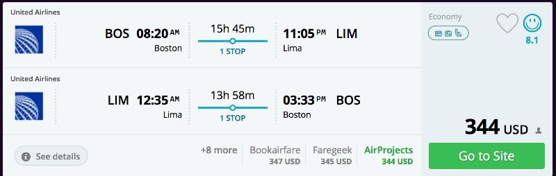 Boston to Lima, Peru