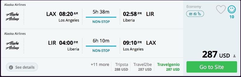 Los Angeles to Liberia