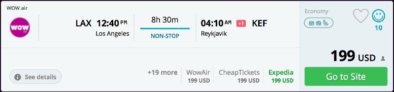Los Angeles to Reykjavik