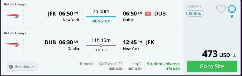 New York to Dublin, Ireland