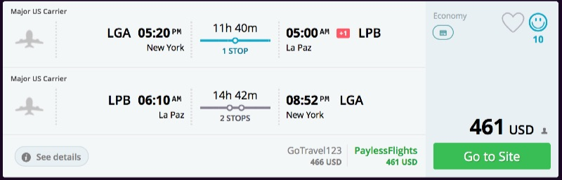 New_York_to_La_Paz_flights