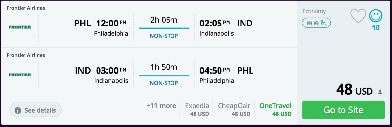 Philadelphia to Indianapolis