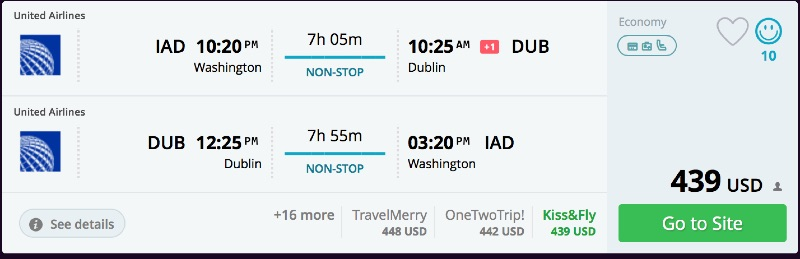 Washington to Dublin