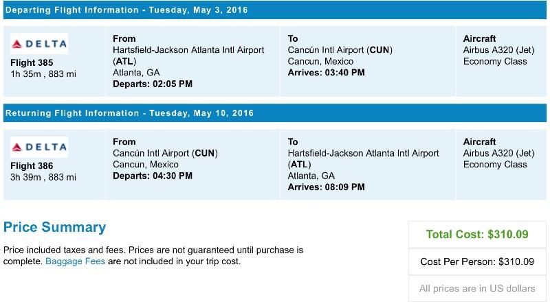 Atlanta to Cancun