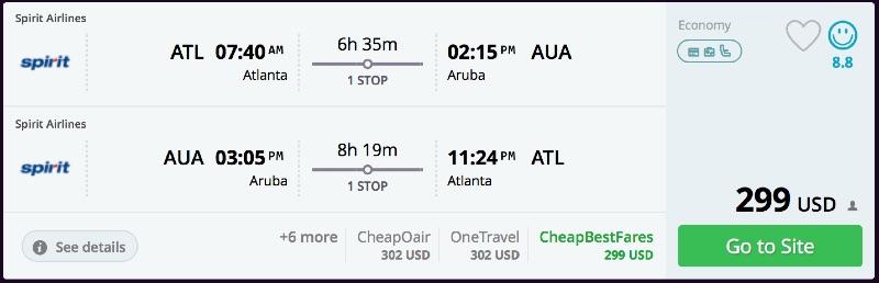 Atlanta to Aruba