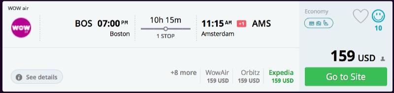 Boston to Amsterdam