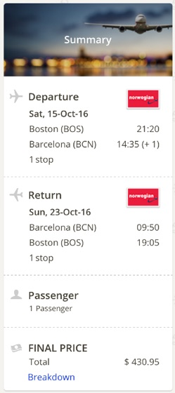 Boston to Barcelona