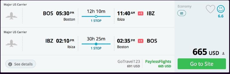 Boston to Ibiza