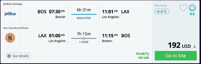 Boston to Los Angeles