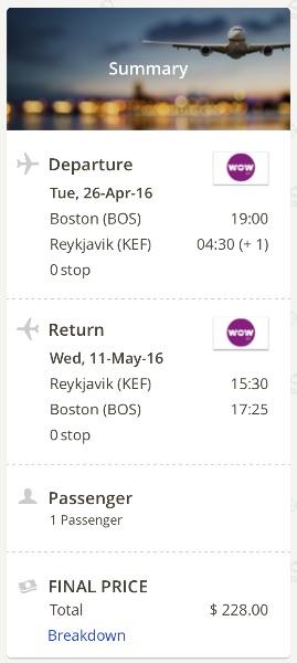 Boston to Reykjavik, Iceland