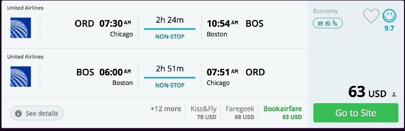 Chicago to Boston