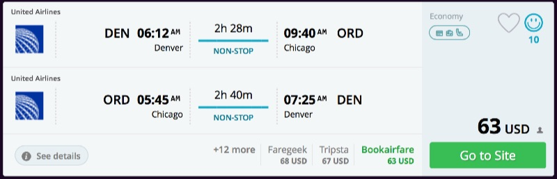 Denver to Chicago