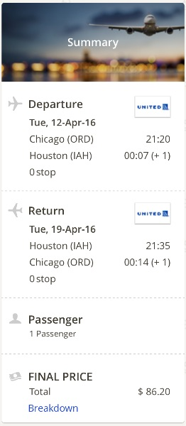 Chicago to Houston