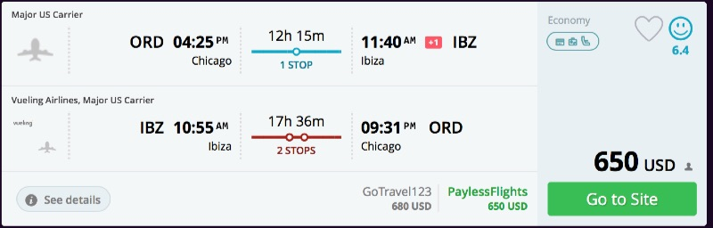 Chicago to Ibiza flights