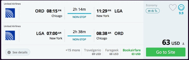 Chicago to New York