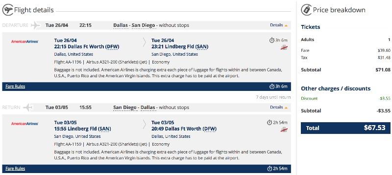 Dallas to San Diego