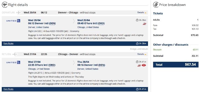 denver to chicago