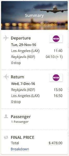 Los Angeles to Reykjavik, Iceland