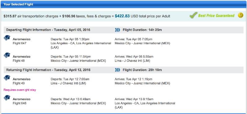 Los Angeles to Lima, Peru