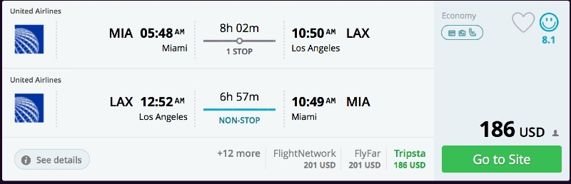 Miami to Los Angeles