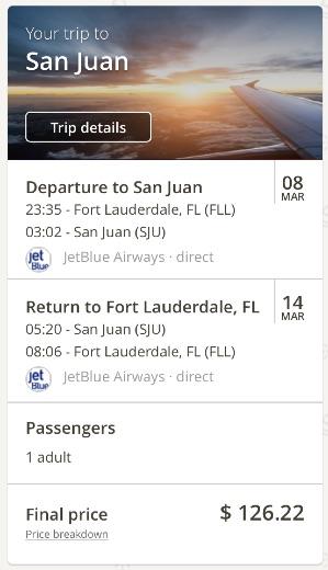Miami to San Juan, Puerto Rico