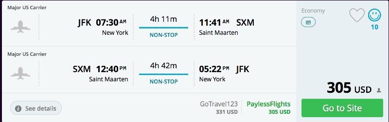 New York to Saint Marteen