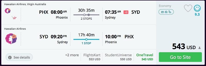 Phoenix to Sydney