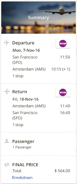 San Francisco to Amsterdam
