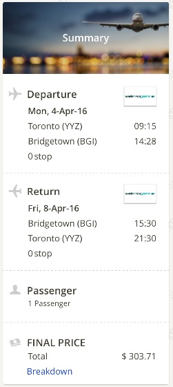 Toronto to Barbados
