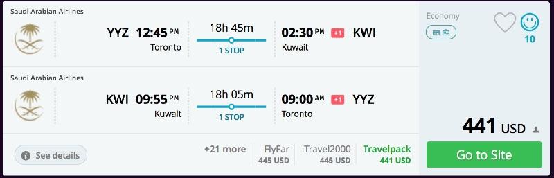 Toronto to Kuwait