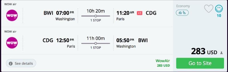 Washington to Paris