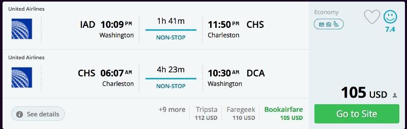 Washington to Charleston