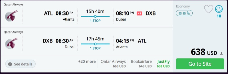 Atlanta to Dubai
