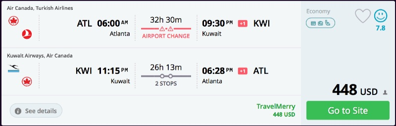 Atlanta to Kuwait