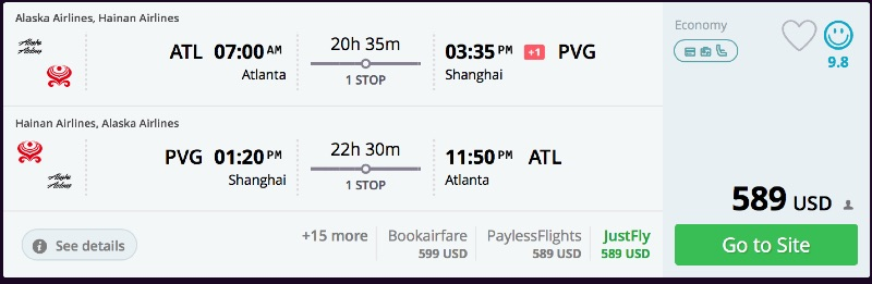 Atlanta to Shanghai