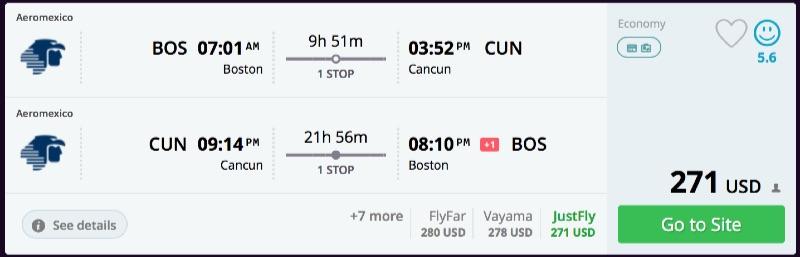 Boston to Cancun