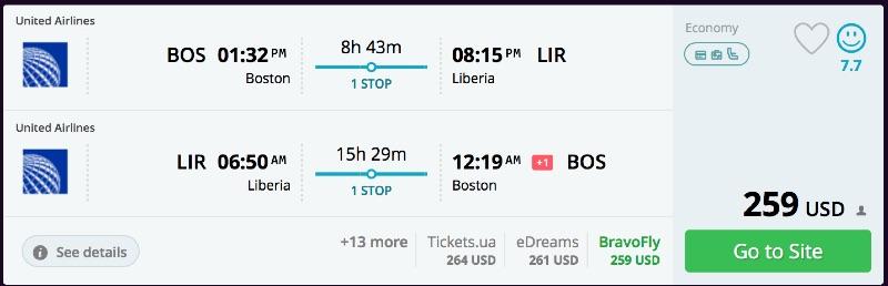 Boston to Liberia