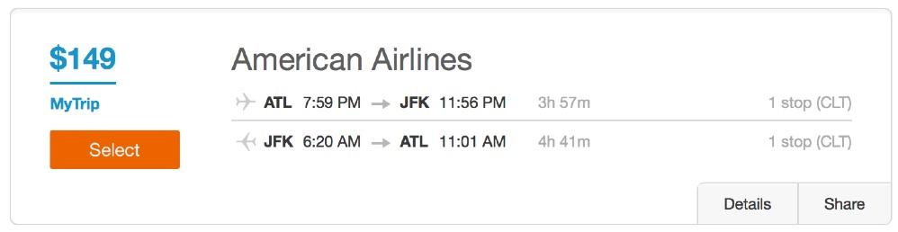 Atlanta to New York