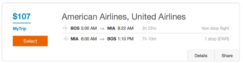 Boston to Miami