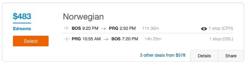 Boston to Prague