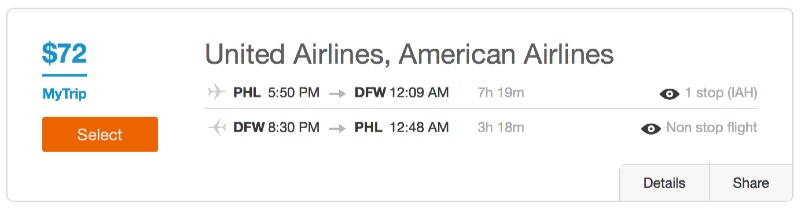 Philadelphia to Dallas