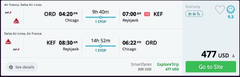 Chicago to Reykjavik