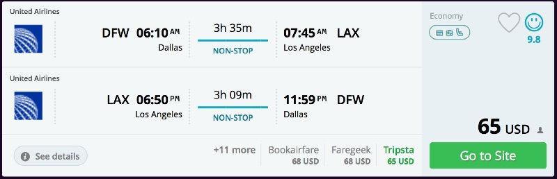 Dallas to Los Angeles