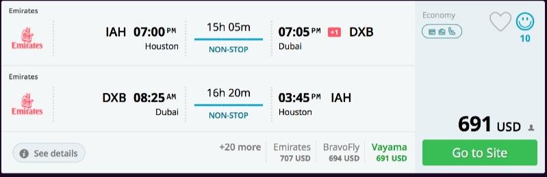 Houston to Dubai
