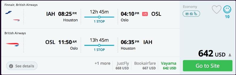 Houston to Oslo