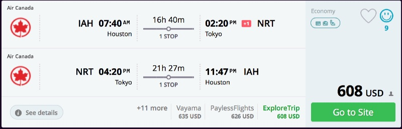 Houston to Tokyo