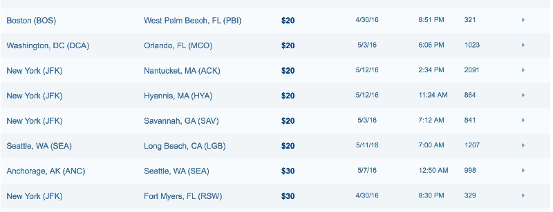 JetBlue Flash Fares